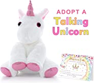 MORDUN Talking Unicorn Plush Stuffed Animal - Peluche de Unicornio - Birthday Gifts Ideas Interactive Toys for Girls Teens G