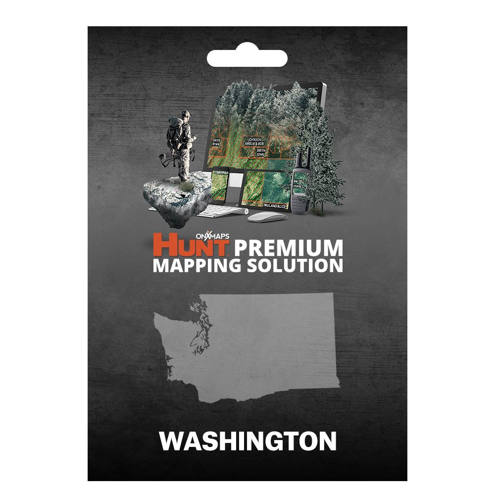 onXmaps HUNT Washington: Digital Hunting Map For Garmin GPS + Premium Membership For Smartphone and Computer - Color Coded Land Ownership - 24k Topo - Hunting Specific Data