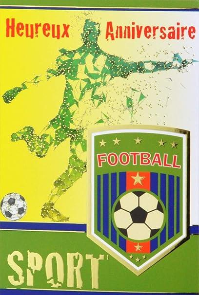 Carte Heureux Anniversaire Or Dore Foot Football Footballeur Sport Ballon Rond Blason Maillot Etoiles Champion Coupe Fabrique En France Amazon Fr Fournitures De Bureau