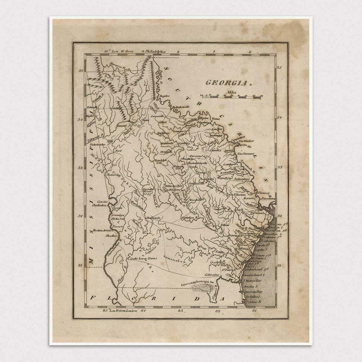 Map Of Old Georgia.Amazon Com Old Georgia Map Art Print 1816 Archival Reproduction