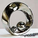 Superbe Sculpture SPIN en céramique argentée avec 2 boules argentées Hauteur 21 cm
