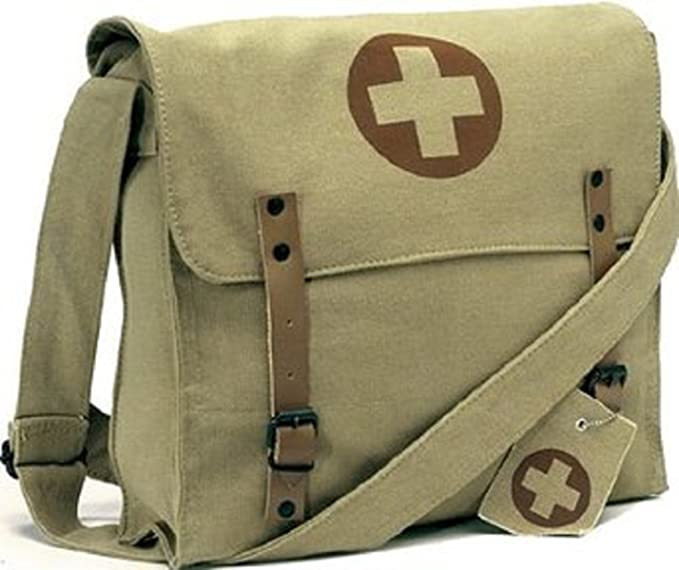 1940s Costumes- WW2, Nurse, Pinup, Rosie the Riveter Vintage Shoulder Medic Bag (Khaki Red Cross) $16.99 AT vintagedancer.com