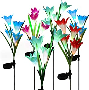 BrizLabs Solar Garden Stake Lights, 6 Pack Outdoor Solar Powered Flowers Light with 24 LED Multi-Color Changing Lily, Waterproof Landscape Lighting Light for Garden, Yard, Patio Decoration