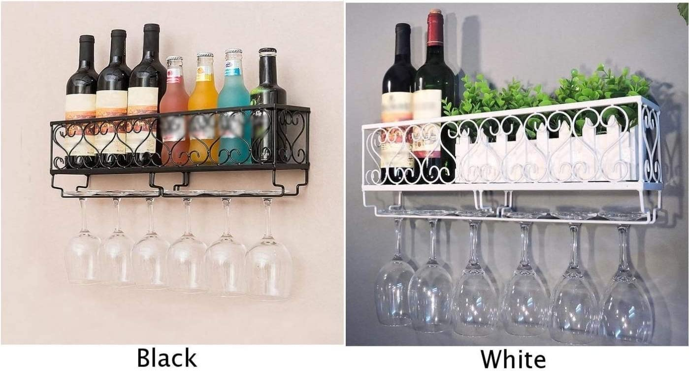 jidan Modern stylish portable durable storage box Wall Mount Wine Rack Bottle Glass Holder Shelves Bar Accessories Shelf (Color : White) White
