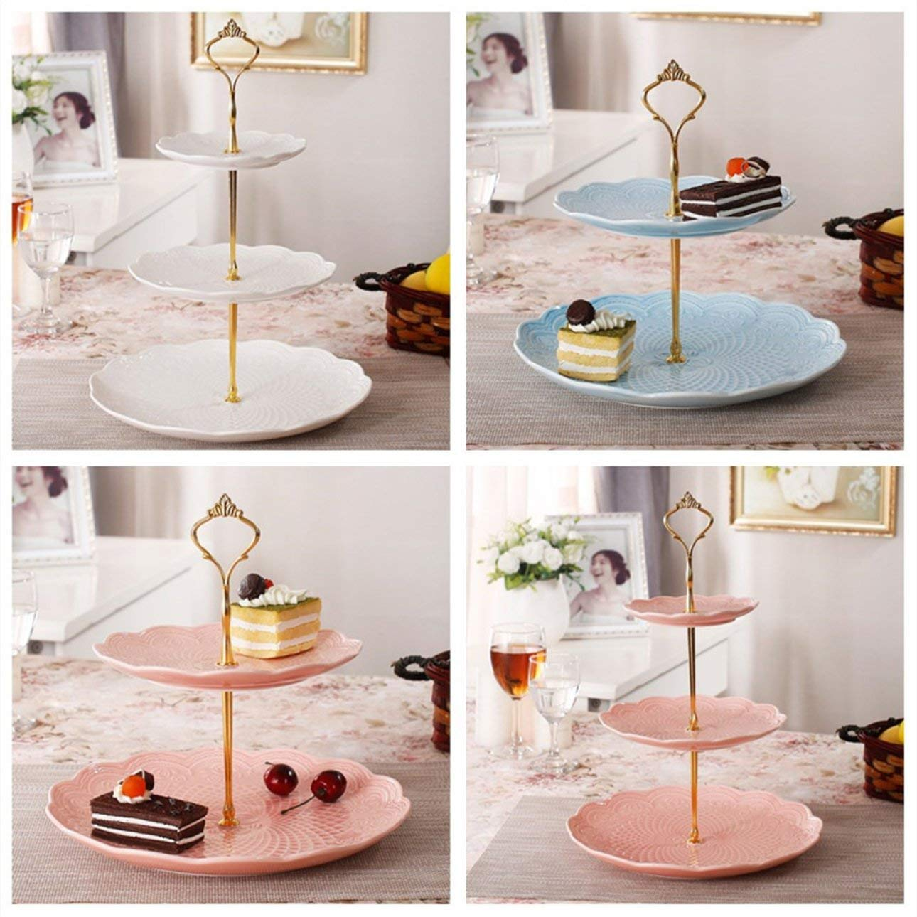 Liobaba 3 Tier Hardware Crown Cake Plate Stand Handle Fitting Wedding Party Golden Plated Decorating Stand Platform Cupcake Stand by Liobaba (Image #2)