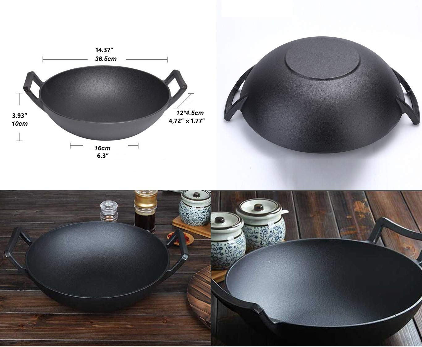 14-Inch Cast Iron Wok Set (Pre-Seasoned), Glass Lid & Silicone Hot Handle Holders by Crucible Cookware (Image #3)
