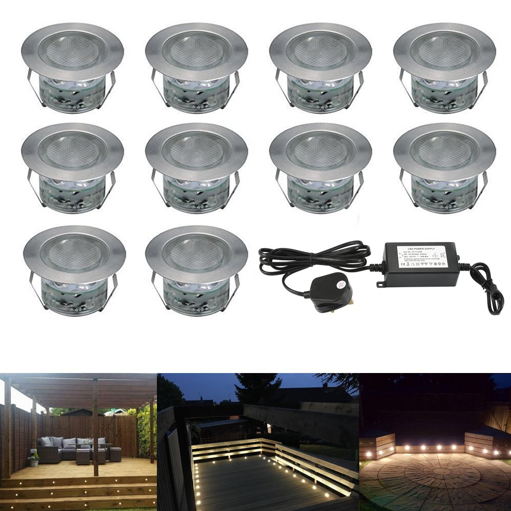 45mm Colour Changing Led Decking Lights Kitchen Plinth Lights Low Voltage IP67 Waterproof Deck Lighting Kits With Remote Control Pack of 10 [Energy Class A] 7Colors