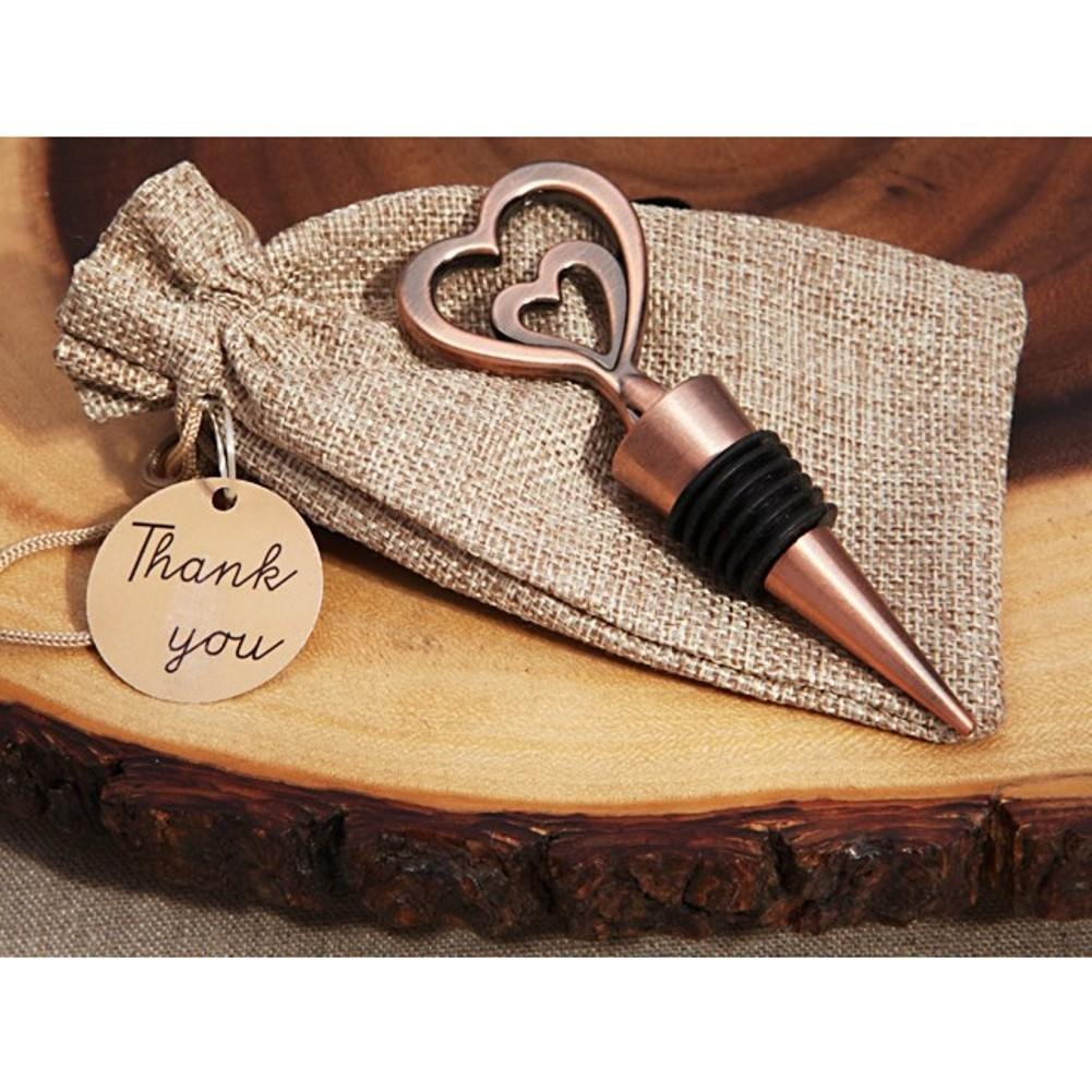 Copper Vintage Two Hearts Become One Bottle Stopper - 72 Pieces