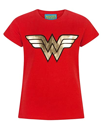 7bc56423 Amazon.com: DC Comics Wonder Woman Foil Logo Girl's T-Shirt: Clothing