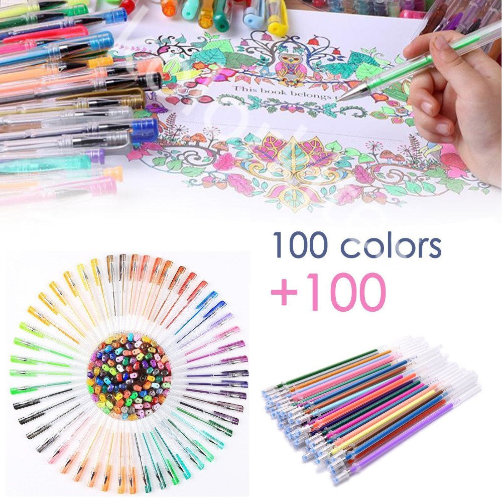 200 Glitter Gel Pen Set, Southsun 100 Gel Markers plus 100 Colors Refills Glitter Neon Pen for Adults Coloring Books Craft Doodling Drawing Bullet Journal Highlighter