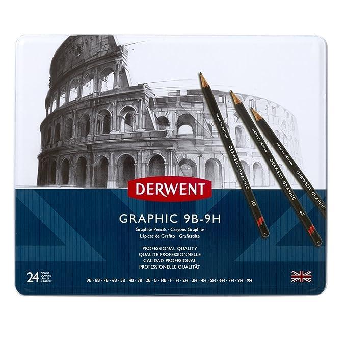 64 opinioni per Derwent Graphic Matite di Grafite in Scatola di Metallo, Confezione da 24