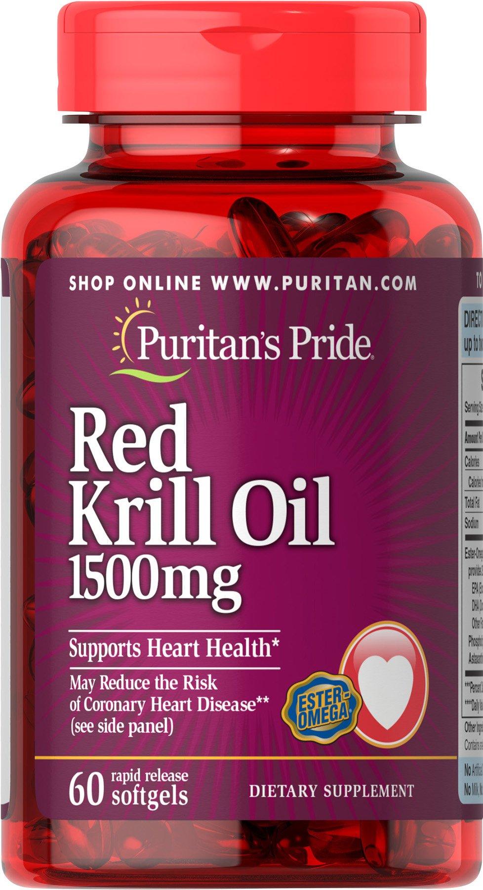 Puritan's Pride Maximum Strength Red Krill Oil 1500 mg (255 mg Active Omega-3)-60 Softgels