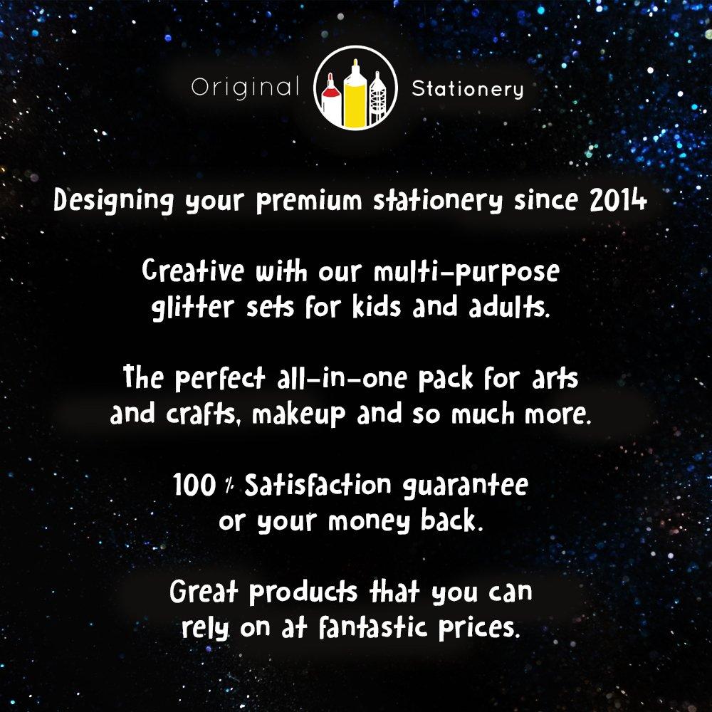 Original Stationery Arts and Crafts Glitter Shake Jars Extra Fine Powder 24 Multi Color Assorted Set