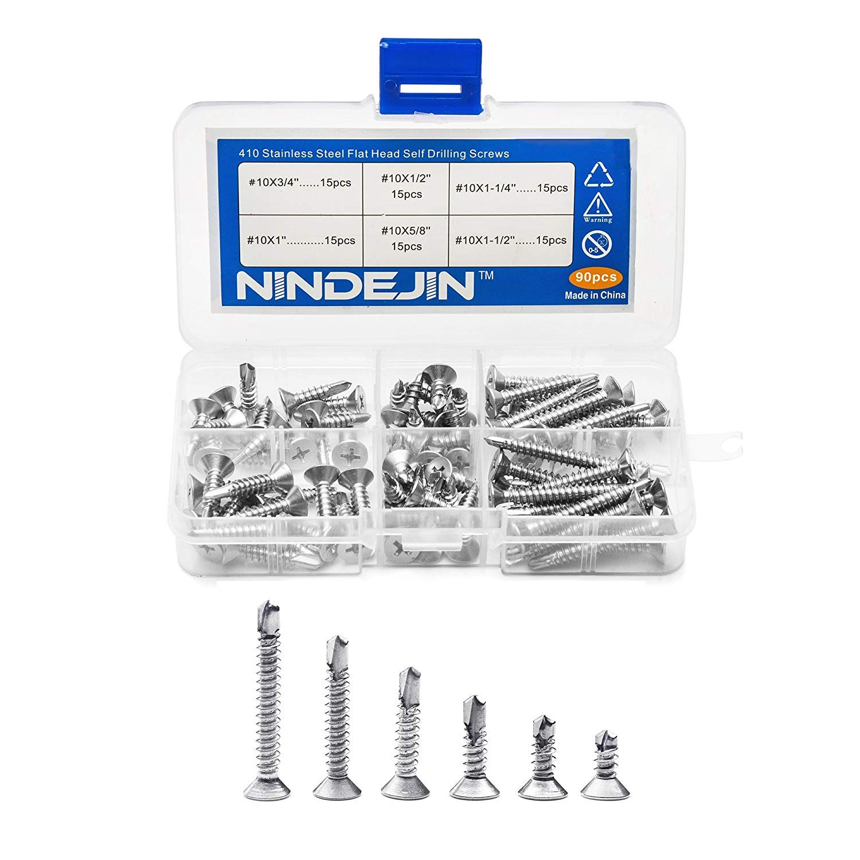 Amazon com: NINDEJIN 90-Pcs 410 Stainless Steel Flat Head Self