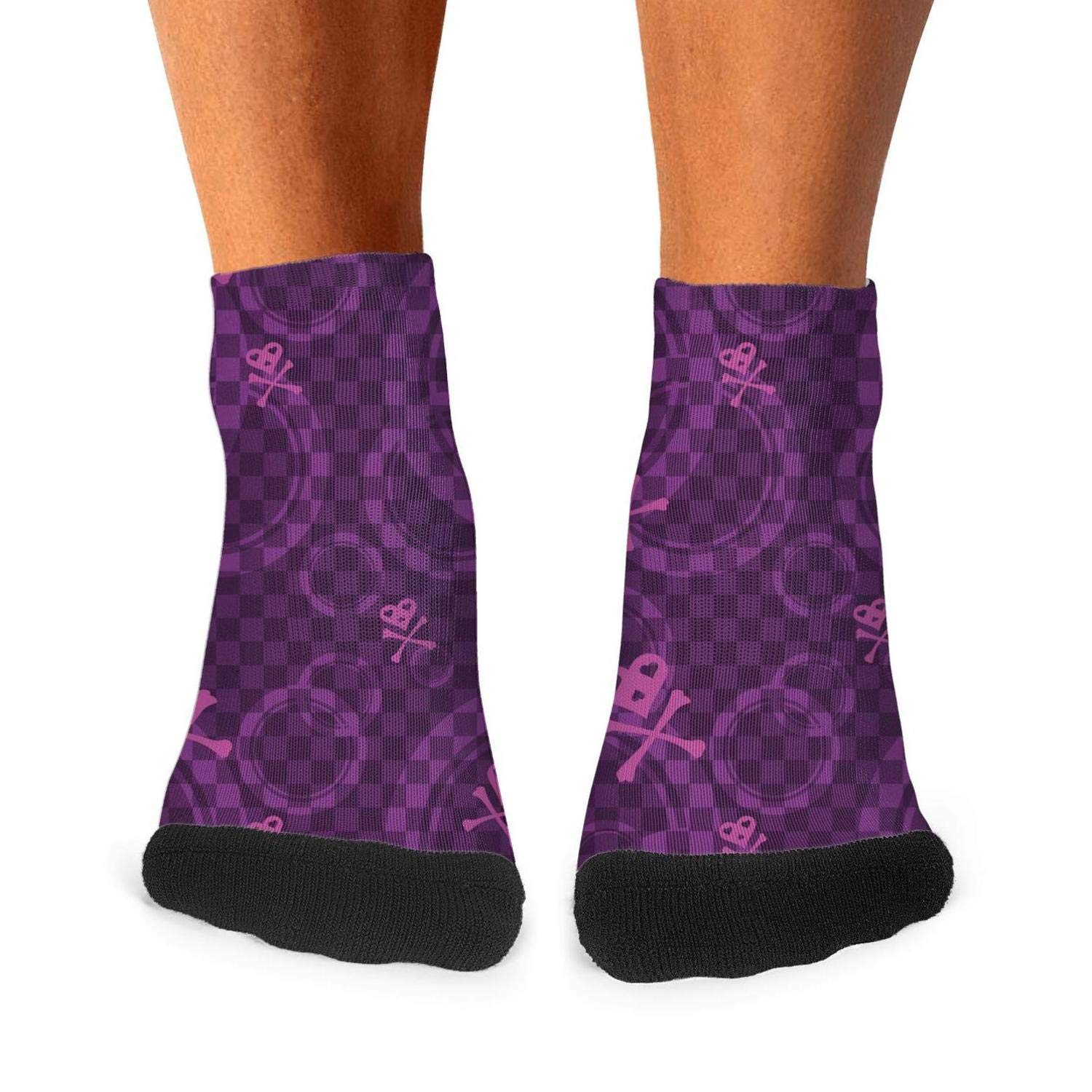Floowyerion Mens skull heart purple checkerboard Novelty Sports Socks Crazy Funny Crew Tube Socks