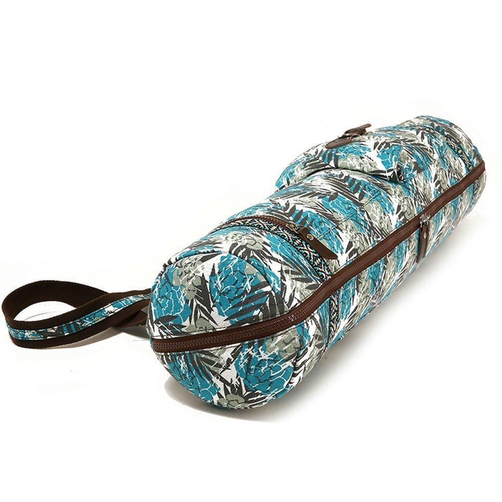 qees Wasserdicht Yoga Matte Tasche Schutzhülle mit Blättern Print auf verstellbaren Gurt 28L * 6.9D Zoll yjbd01 blau ZhuoLang