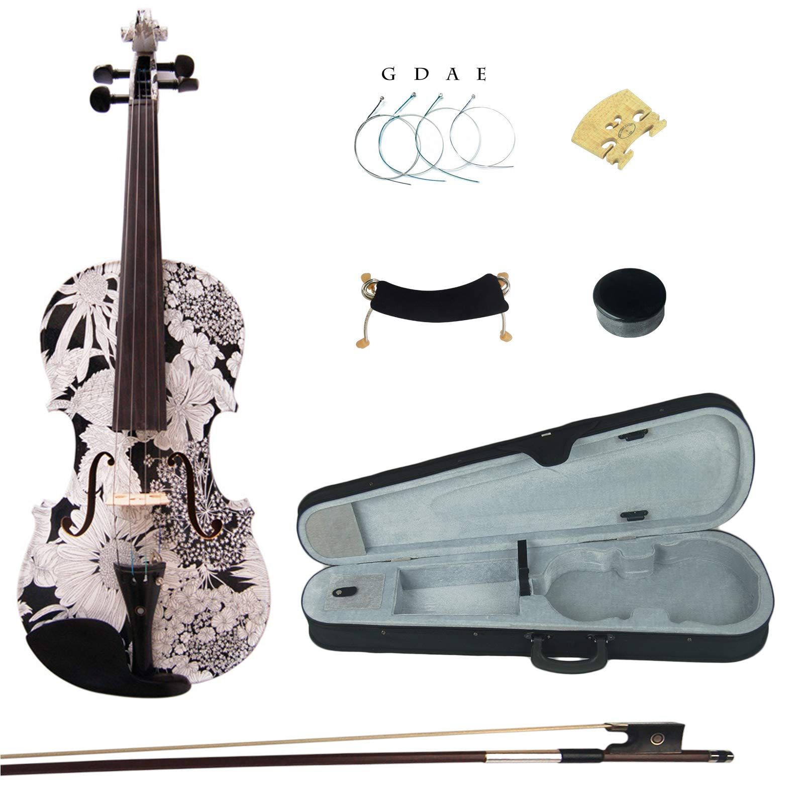 Kinglos 4/4 Black Grid Colored Ebony Fitted Solid Wood Violin Kit with Case, Shoulder Rest, Bow, Rosin, Extra Bridge and Strings Full Size (HB1310)