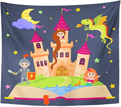 Berrykey Tapestry Rosa Tale Fairytale portatil with Castle Princess Knight Mermaid Dragon Fairy Child Home Decor Wall Hanging for Living Room Bedroom Dormisette 60 x 80 Inches: Amazon.es: Juguetes y juegos