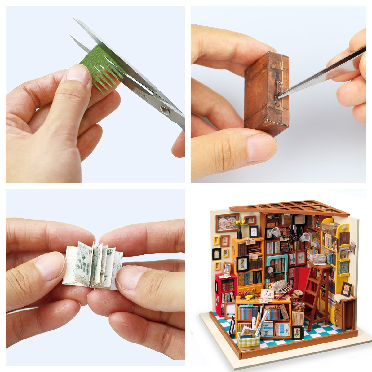 Rolife Wooden Miniature Dollhouse Kit with Light-DIY Art House Crafts-3D Wooden Model Building Sets-Perfect Birthday for Girls Women Friends Mom Wife 01 Sewing Room