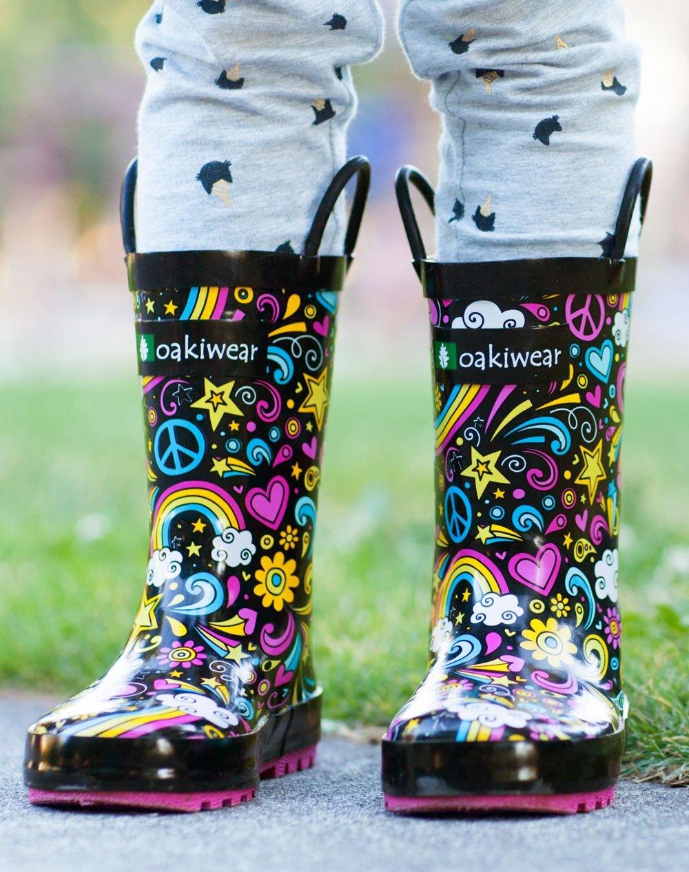 Oakiwear Kids Rubber Rain Boots with Easy-On Handles, Peace, Love & Rainbows, 11T US Toddler, Peace by Oakiwear (Image #6)