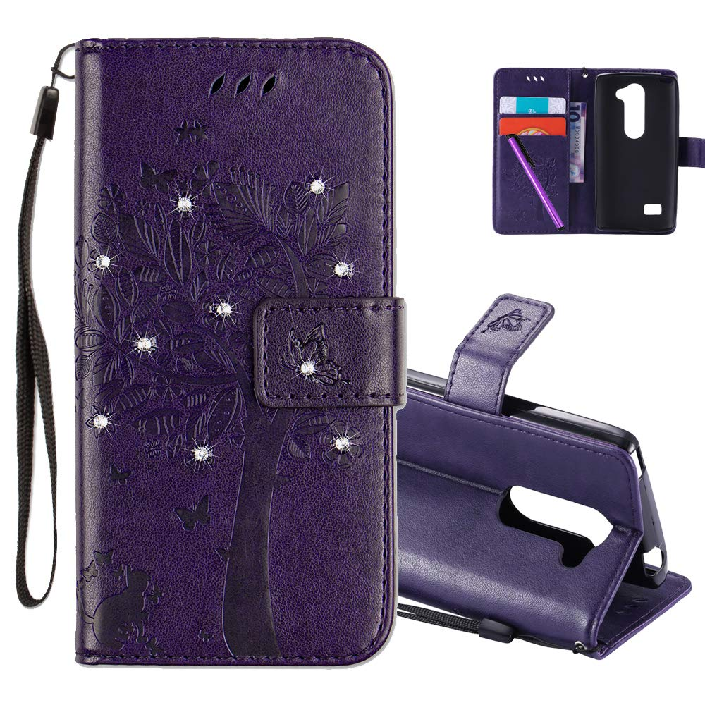 HMTECHUS LG Leon 4G LTE H340N Case 3D Crystal Embossed Love Cat Butterfly Handmade Diamonds Shine PU Flip Stand Card Holders Wallet Cover LG Leon 4G C40 Wishing Tree Purple KT