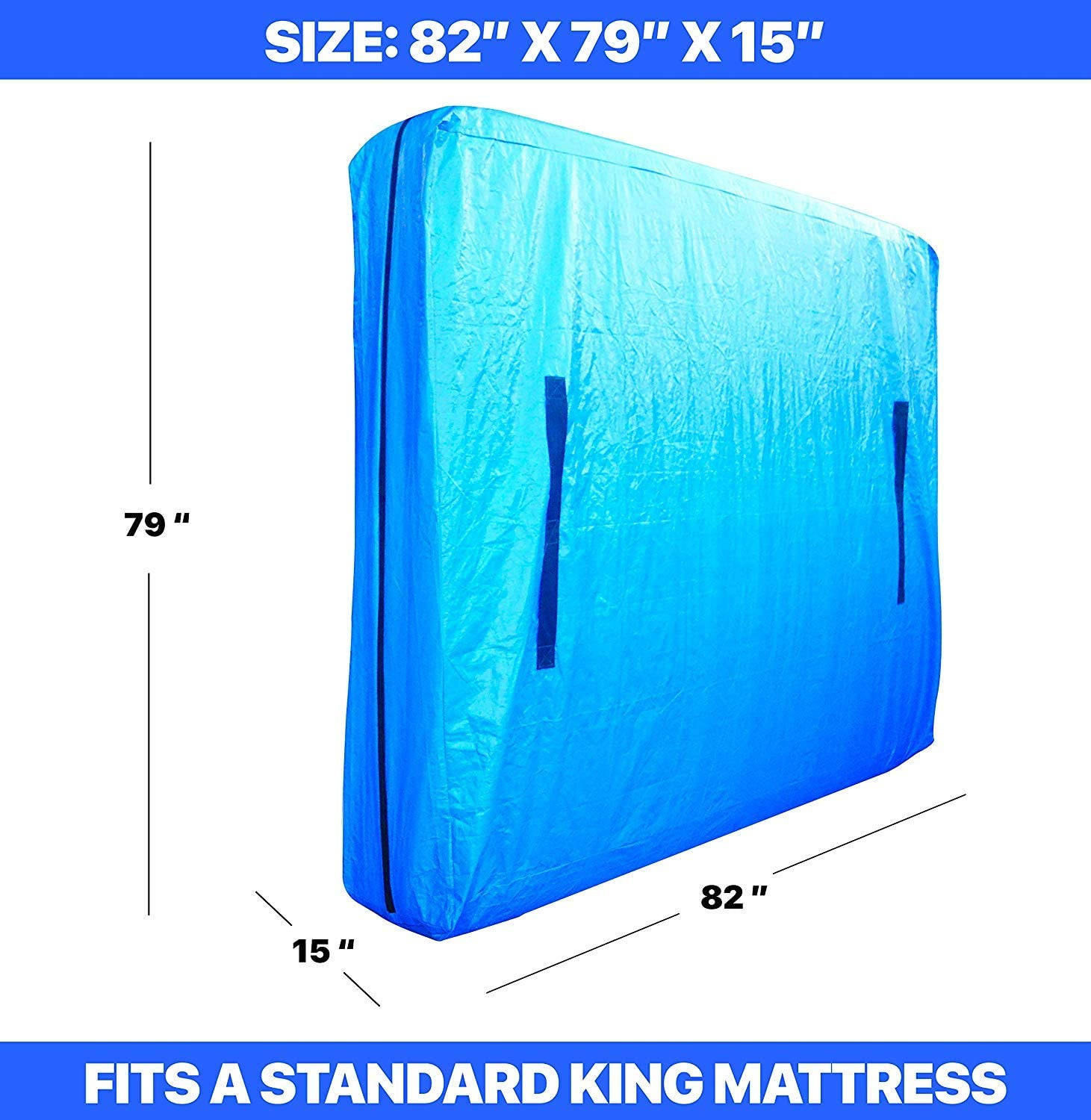 HC Covers Heavy Duty Mattress Bag for Moving /& Long-Term Storage with Strong Zipper Closure and 8 Handles Premium Quality Twin XL, Blue