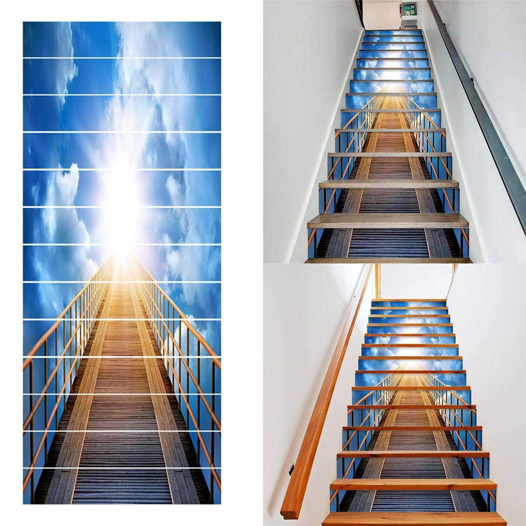 Detailorpin Sky Wooden Bridge Modern Decoration Background Waterproof Living Room Stair Stickers