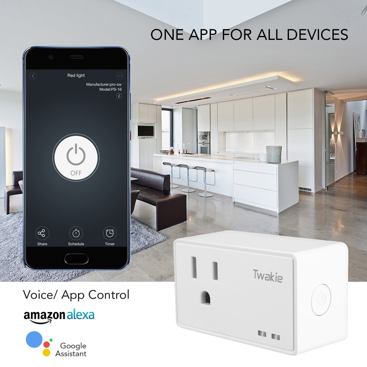 Smart Home Plug, Twakie Mini Wifi Smart Plug, Compatible with Alexa Echo  and Google Home, Nest, IFTTT, Remote Control Power Socket Timer Receptacle