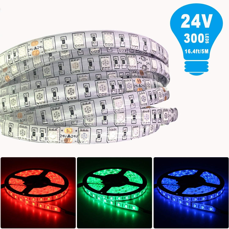 Tesfish 5m/rollo DC 24V 5050 Tira de LED de color RGB Impermeable IP65 300 LEDs Tira de LED de SMD 5050