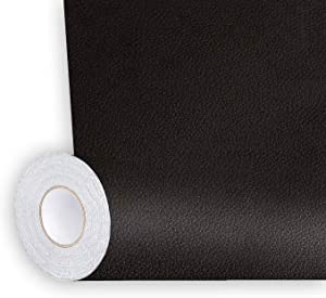 Shagoom Leather Repair Patch, Repair Patch Self Adhesive Waterproof, DIY Large Leather Patches for Couches, Furniture, Kitchen Cabinets, Wall (Black, 17X79 inch)