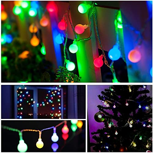 DecorNova Globe Lights, Battery Operated Fairy Ball String Lights with 3 AA Battery Case, Remote Control 8 Modes for Christmas Party Wedding Bedroom Decorations, 30 LEDs 13 Feet, Multi Color
