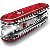 Victorinox Huntsman Lite schweizisk arméfickkniv, medium, multiverktyg, 21 funktioner, blad, LED, röd transparent