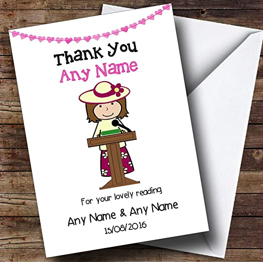 Thank You For Doing A Reading At Our Wedding Female Personalised – Personalised Thank You Cards Wedding