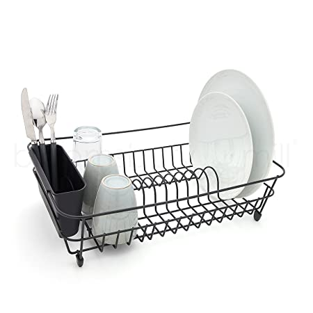 Bloomsbury Mill - Black Wire Dish Drainer - Plate Drying Rack with Cutlery Holder Basket -  sc 1 st  Amazon UK & Bloomsbury Mill - Black Wire Dish Drainer - Plate Drying Rack with ...