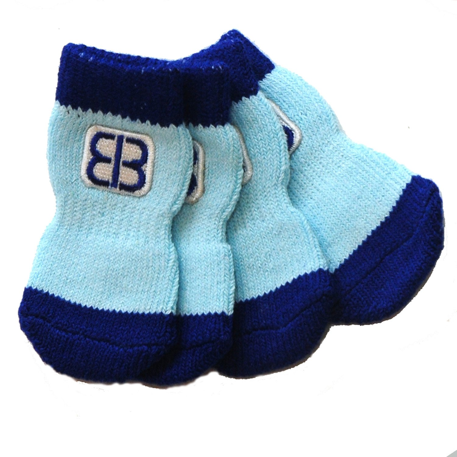Petego Traction Control Indoor Socks for Dogs, Blue/Light Blue, Small, Set of 4
