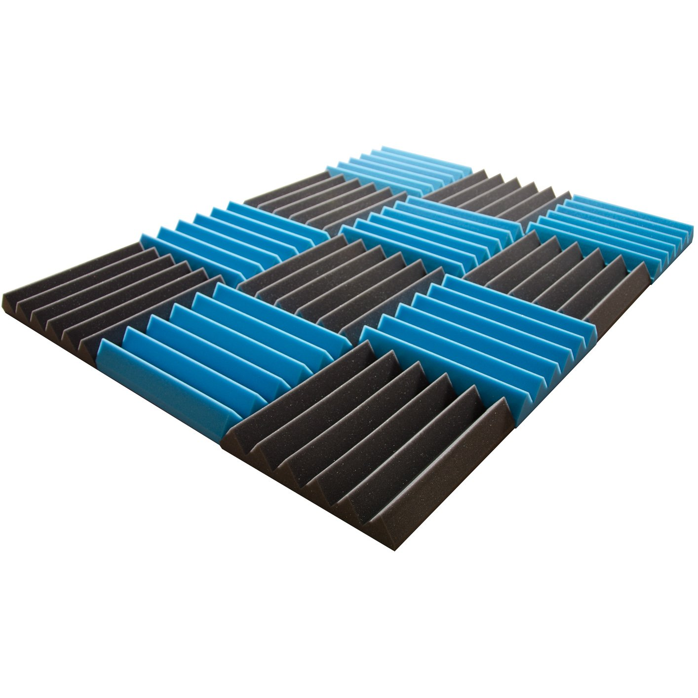 Pro Studio Acoustics - 12''x12''x2'' Acoustic Wedge Foam Absorption Soundproofing Tiles - Blue/Charcoal - 12 Pack by Pro Studio Acoustics (Image #2)