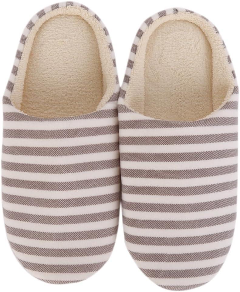 Maritown Pantofole da Camera Pantofole da Interno Cosy Antiscivolo Suola Lavabile da Donna Uomo Stripe Decor Pantofole da casa Chiuso Tutte Le Stagioni Adatto