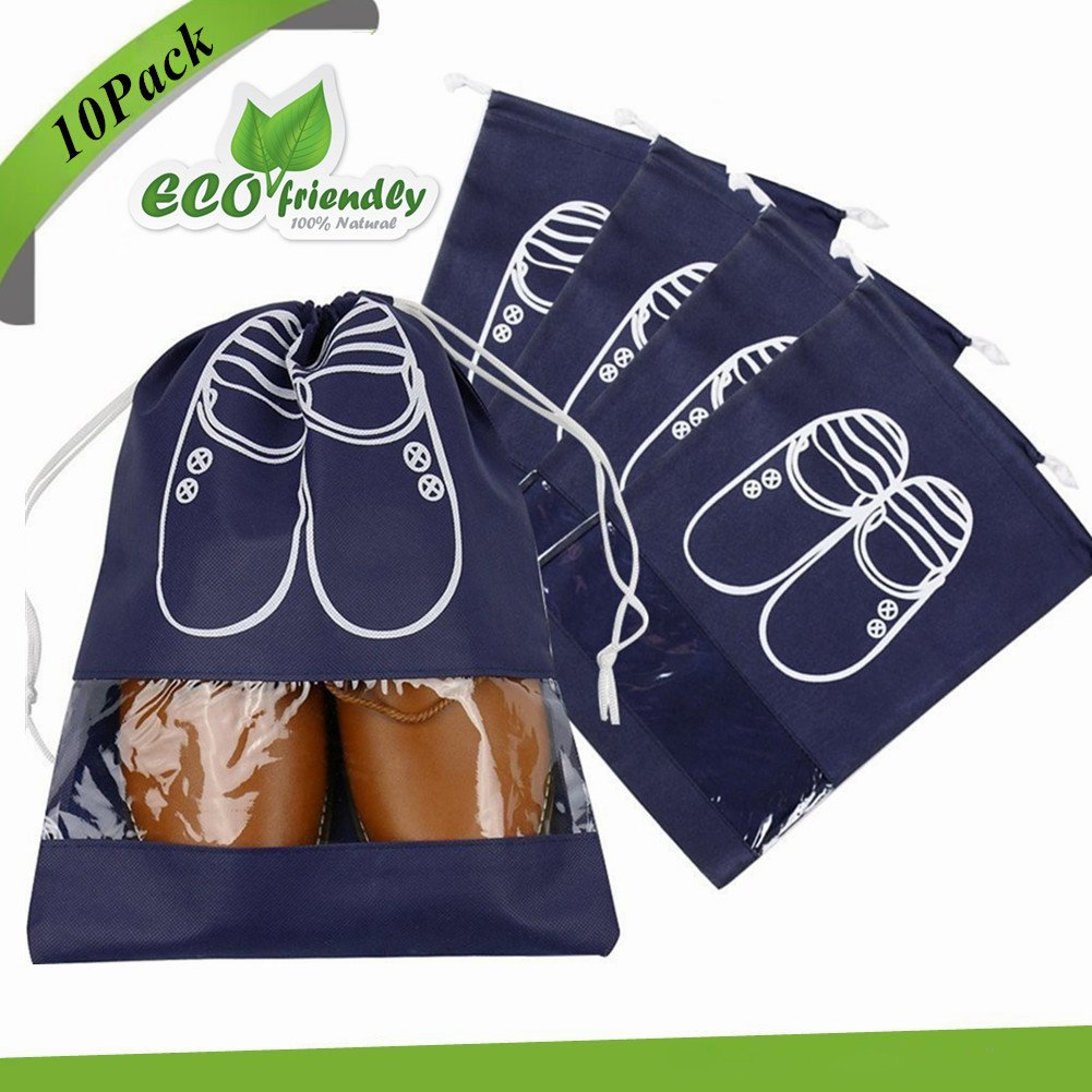 Shoe Organizer Bags, Chickwin 10x Travel Portable Dust-proof Space Saving Storage Bags Breathable Drawstring Transparent Window for Boots High Heel (10 pack large size, navy)