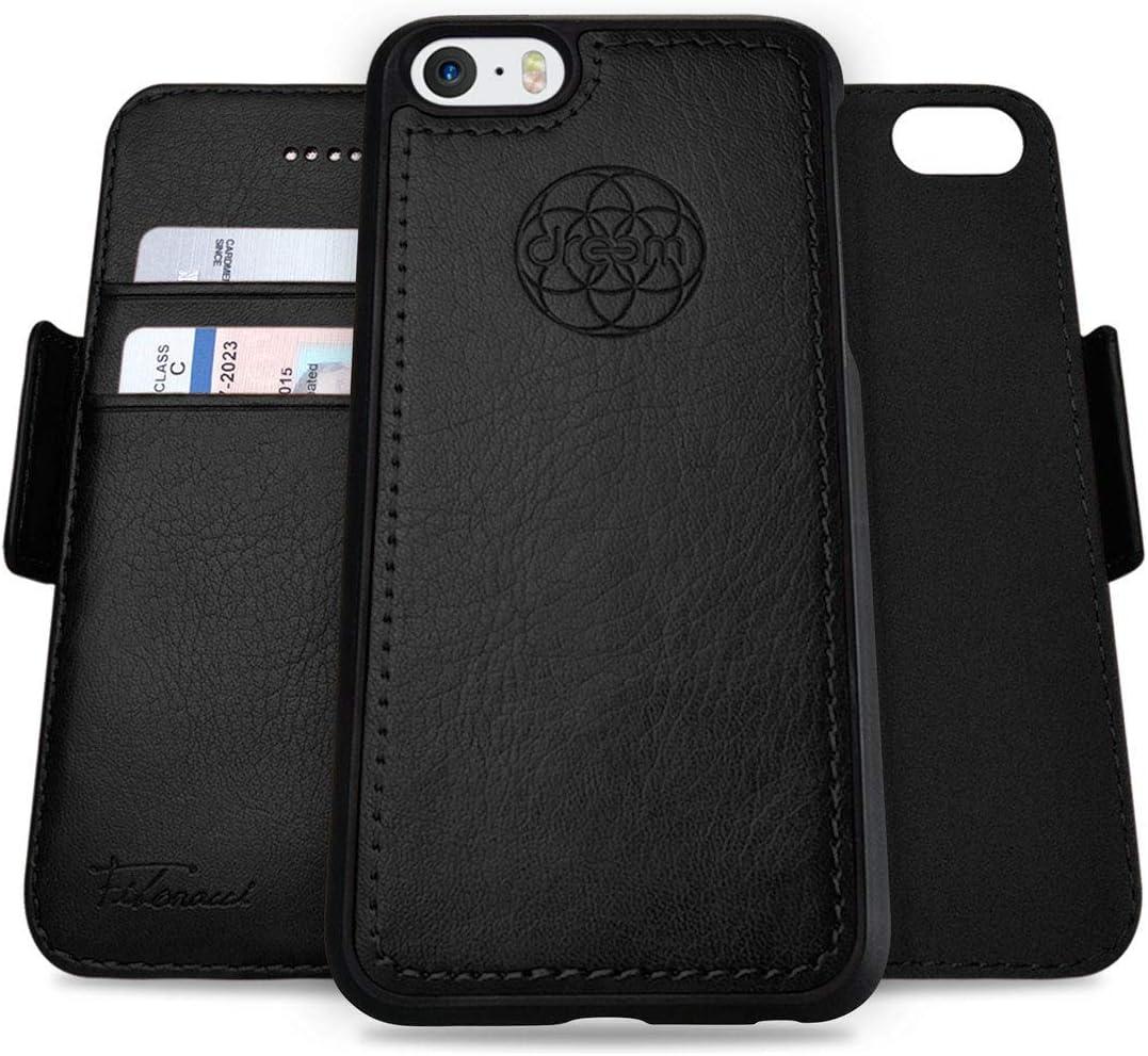 Dreem Fibonacci 2-in-1 Wallet-Case for Apple iPhone 5/5s/SE(1) - Luxury Vegan Leather, Magnetic Detachable Shockproof Phone Case, RFID Card Protection, 2-Way Flip Stand - Black