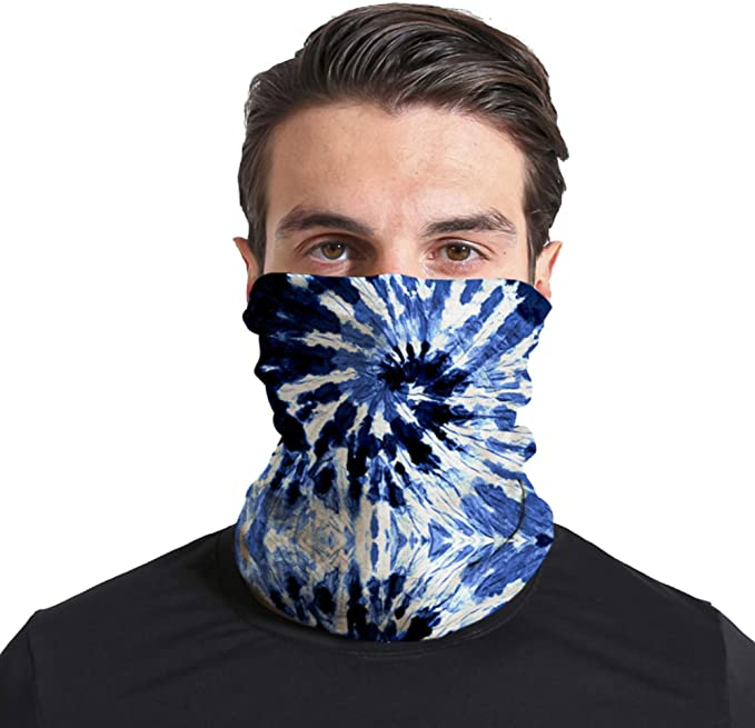 Triv Tie Dye Seamless Bandana Neck Gaiter Cloth Face Mask Washable Reusable Balaclava Face Cover (Abstract Blue) at Amazon Men's Clothing store