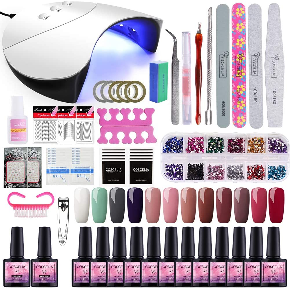 Saint-Acior 36W UV/LED Lámpara Secador de Uñas 12PCS Esmalte Semipermanente Kit Uñas de Gel Primer Uñas Top Coat DIY Uña Arte Kit para Manicura Pedicura