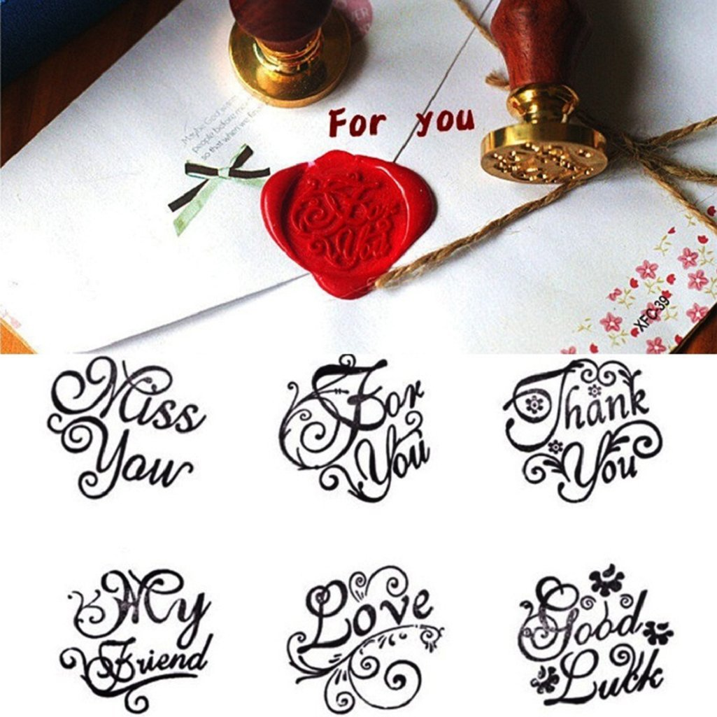 WFZ17 Vintage Love Thank You Miss You Good Luck Letters DIY Wax Seal Stamp