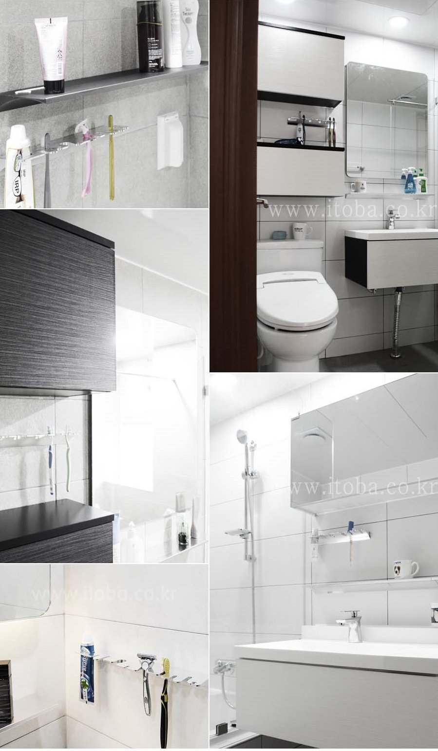 Octo Material First Antibacterial Toothbrush Holder Stand for Bathroom Vanity Silver by Tobathysteme (Image #3)