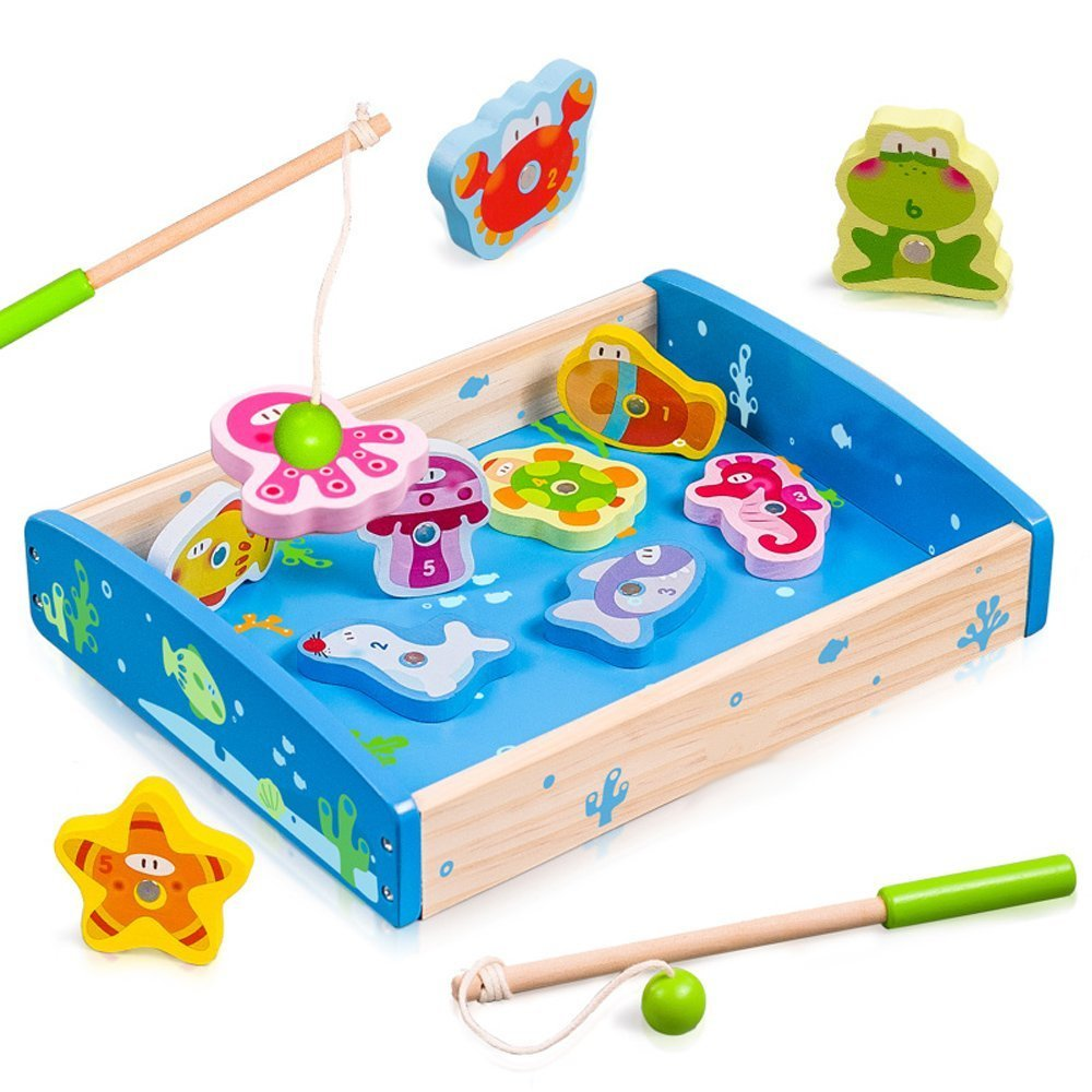 Wondertoys Wooden Magnetic Fishing Game Puzzle Board Toy with 12 Fishes and 2 Poles Fishes Basic Educational Development Toys for Toddler