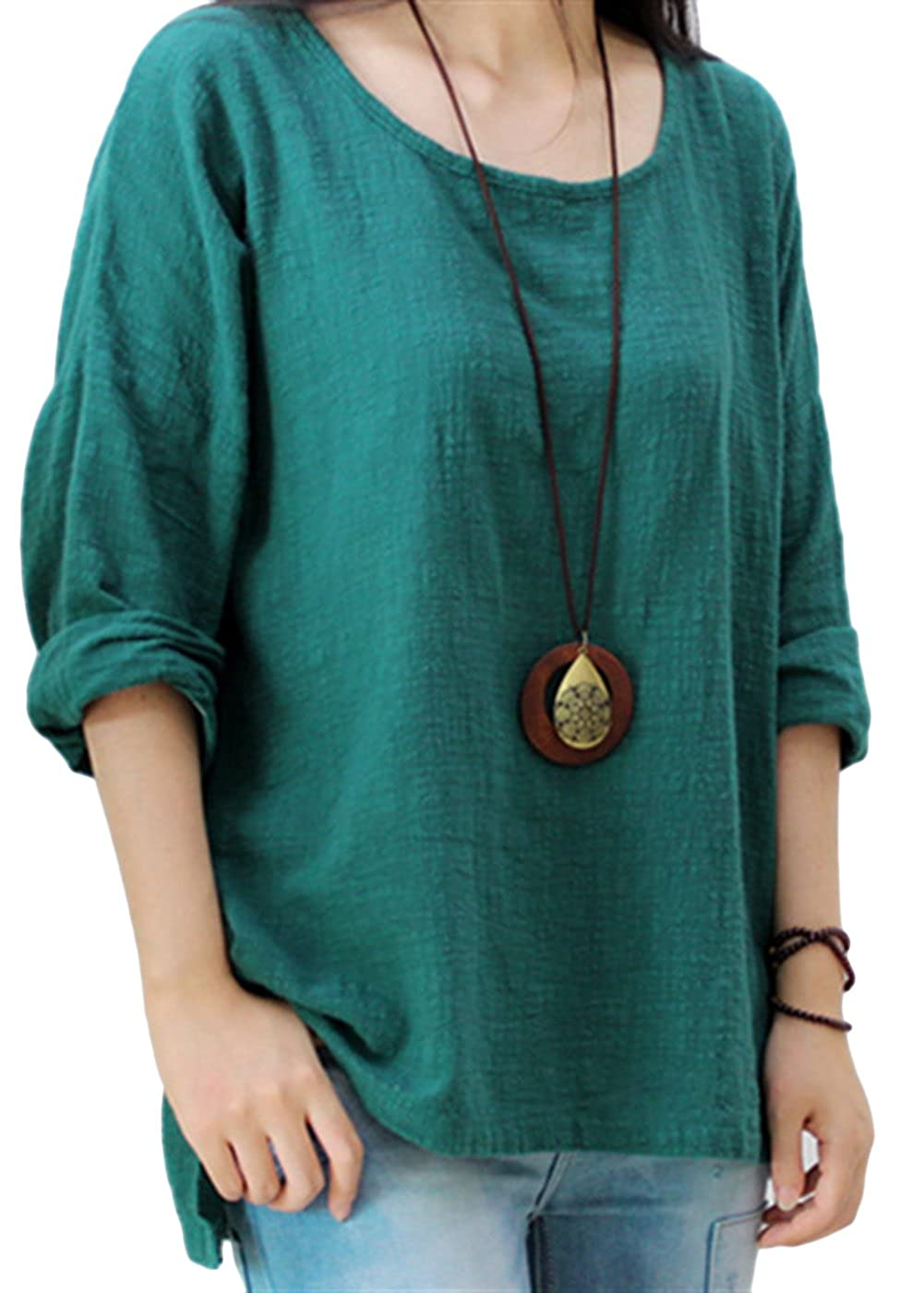 4f0eeec165 65% Cotton+35% Linen Pull On closure. Material  Cotton and Linen Blend.So  the Casual Blouse is Soft