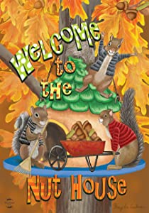 """Briarwood Lane Welcome Fall Nuthouse Garden Flag Autumn Squirrels 12.5"""" x 18"""""""