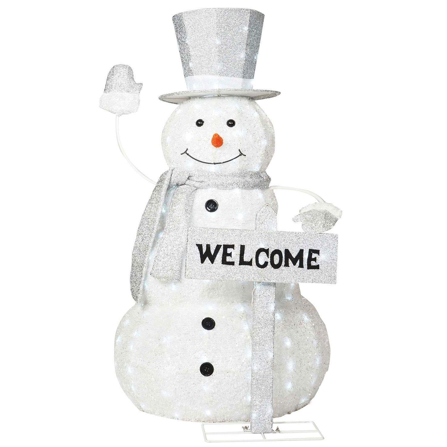 Amazon.com: Life Size Cool White Lighted Snowman Sculpture Outdoor ...