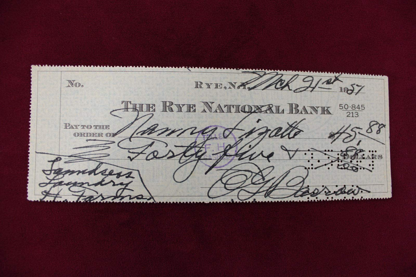 Ed Barrow Autographed Signed Check Full JSA Authentic Letter Coa Yankees