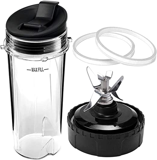 """Nutri Ninja 32oz Cup And 7-Fin Blade Replacement Set Large Accessory Part With /"""""""