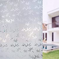 (Bamboo) - Plenty Flair Window Film Bamboo Static Decorative Privacy Window Films Non-Adhesive Anti Uv Window Sticker for Home Kitchen Bedroom Living Room in Size 45cm by 200cm